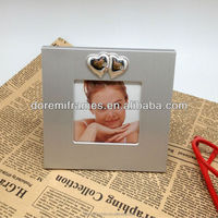 mini 2x3 3x3 baby aluminum picture frame with two embossed heart