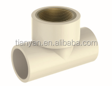 HIGH QUANLITY TEE BRASS INSERT OF CPVC DIN STANDARD PIPES & FITTINGS FOR WATER SUPPLY
