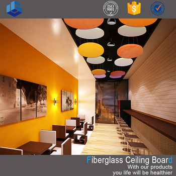 Acoustic fiberglass suspended ceiling board for decoration