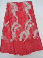 J634-4 high quality new design african nigeria wedding aso obi tulle lace fabric