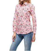 2017 office ladies top printing long sleeve pure cotton shirt blouse 5XL
