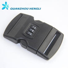 50mm Plastic side release coded lock buckle for luggage bag number lock