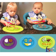 Heat resistance table ware Non stick fda approved all in one piece silicone placemat and plate for kids baby children