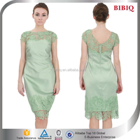 Elegant Green Satin Slim Lace Ladies Smart Casual dress
