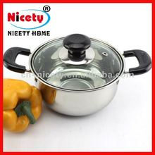 NICETY best stainless steel polishing soup pot/chocllate melting pot with glass lid