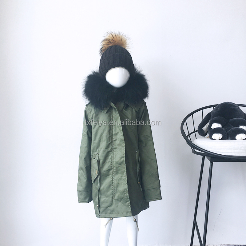 China Supplier OEM Winter Kid Fur Coat With Faux Fur Lined Racoon Fur Parka