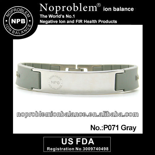 Noproblem P071 gray Tourmaline Ion Balance sport power band bracelet