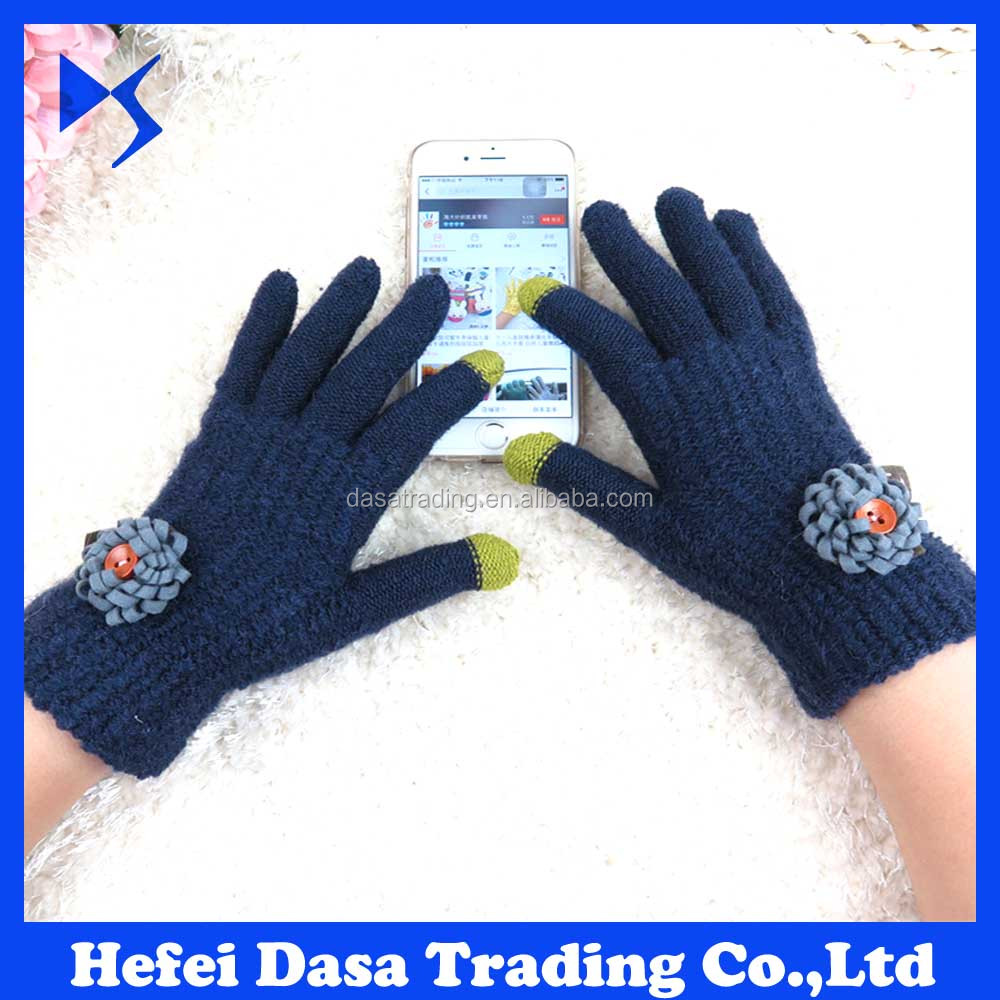 Cheaper Price Knit Mittens 2016 alibaba stock christmas gloves wholesale knitted touch screen gloves