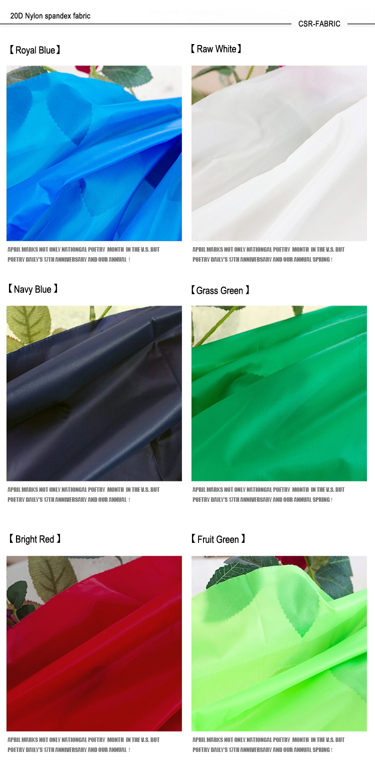 Polyester 380t thin down jacket nylon fabric