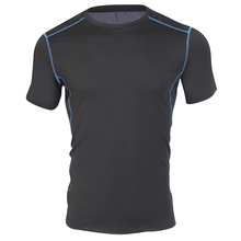 new product muscle fit men fitness t shirt round neck multi-colored options polyester fitness t shirt men