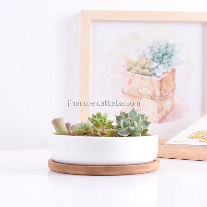 Creative 6 inch round white ceramic shallow flower pot with tray