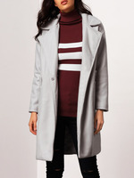 Outerwear Coats fashion women clothing latest new design Grey Notch Lapel Covered Button Coat
