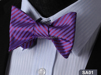 Two tone new fashion stripe cheap christams self tie bow ties