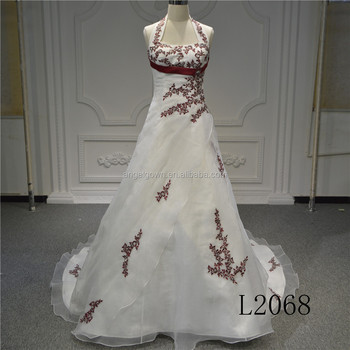 Beautiful red mix ivory wedding dress Aline dress with removeable halther strap