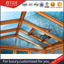 Curved glass sun room/ Aluminum solid sun room/wood roof window