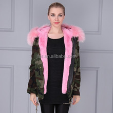 Factory make baby pink real fox fur Thicken parka,customized faux fur spring ladies casual wear