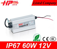Hot selling best power supply brand waterproof led driver ip67 constant voltage single output type 12 volt 5 amp power supply