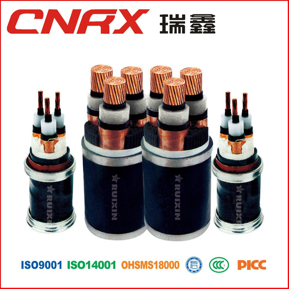 Made in China yueqing ruixin group 0.6/1 kv Cu / AI conductor XLPE Insulated PVC / PE Sheath 3 Core Power cable electrical cabel