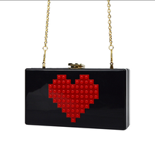 2017 New fashion red heart lady high grade sweet lady shell bag Messenger bag acrylic clutch evening bag