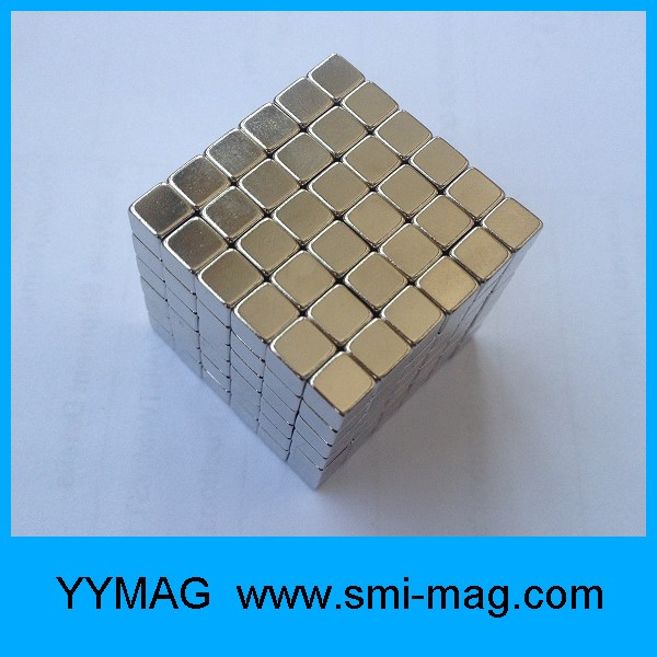 N35 5x5x5mm cube neodymium nickel silver magnetic cube