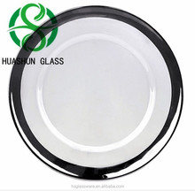 Underplate Wedding Silver Coated Clear Rim Glass Charger Plate