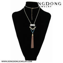 2018 Wholesale fashion long metal tassel ornaments natural stone jewelry necklace