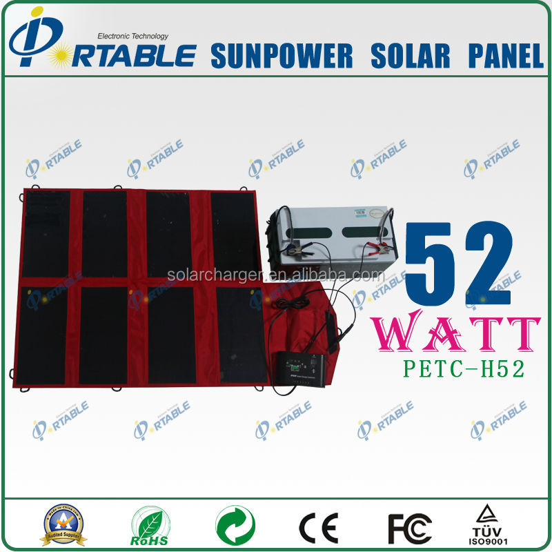 52W sunpower solar panels for mobile homes travelling and camping