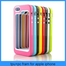 Color Clear TPU Silicone + PC Bumper Frame Case for iPhone 5 5G 5S