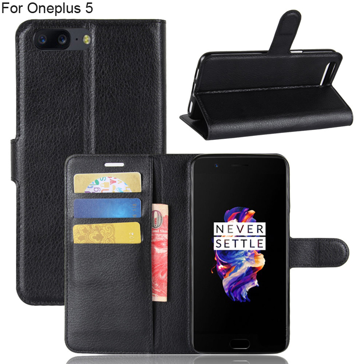 10pcs MOQ wallet flip leather phone case for Oneplus 5, folio book stand wallet PU leather cover case for oneplus 5