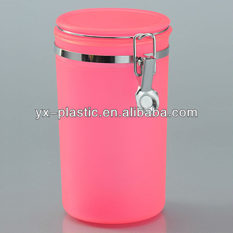 Plastic Food Jars/container w/ air-tight lid and metal lock