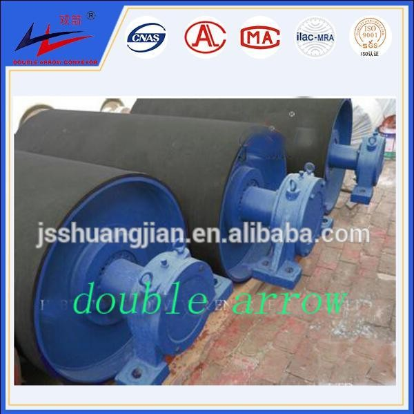 Mining Use Belt Conveyor Tail Pulley With Plain Rubber Lagging