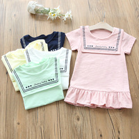W6027 Girls Dress 2017 Summer Casual Style Baby Girl Clothes Short Sleeve Dress for Kids Clothes