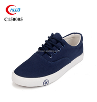 Newest design thick sole cheap navy blue men canvas shoes