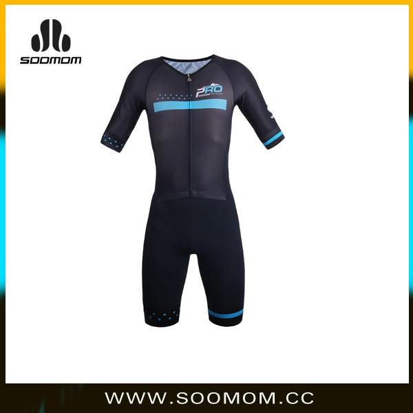 SOOMOM New Design All Black Sublimation Print Short Half Sleeve Cycling Skinsuit Quick Dry Coolmax Cycling One Piece Suit
