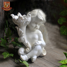 Factory custom made ancient polyresin elegant angel statue candle holder