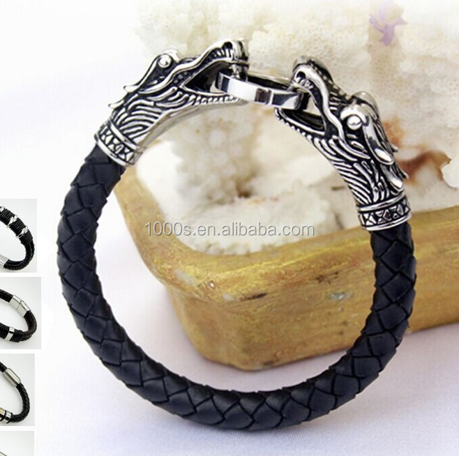 Wholesale Antique Stainless Steel Dragon Head with Genuine Leather Bracelet Men Fashion Accessories with Clasp