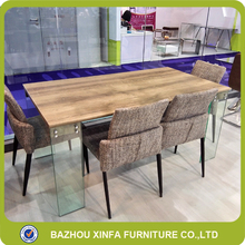 Bar Restroom Mdf Top Glass Leg Dining Table