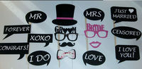 16PCS Bride and Groom Photo Booth Props Weddings Marriage Decoration