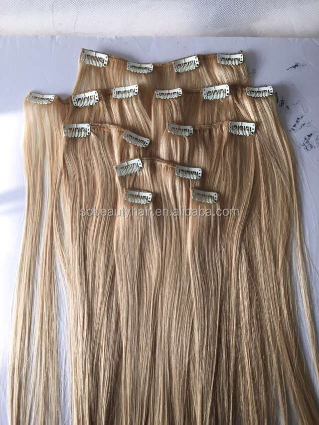 ZZH Hot sale color #27 blonde virgin russian hair double drawn clip in human hair extensions
