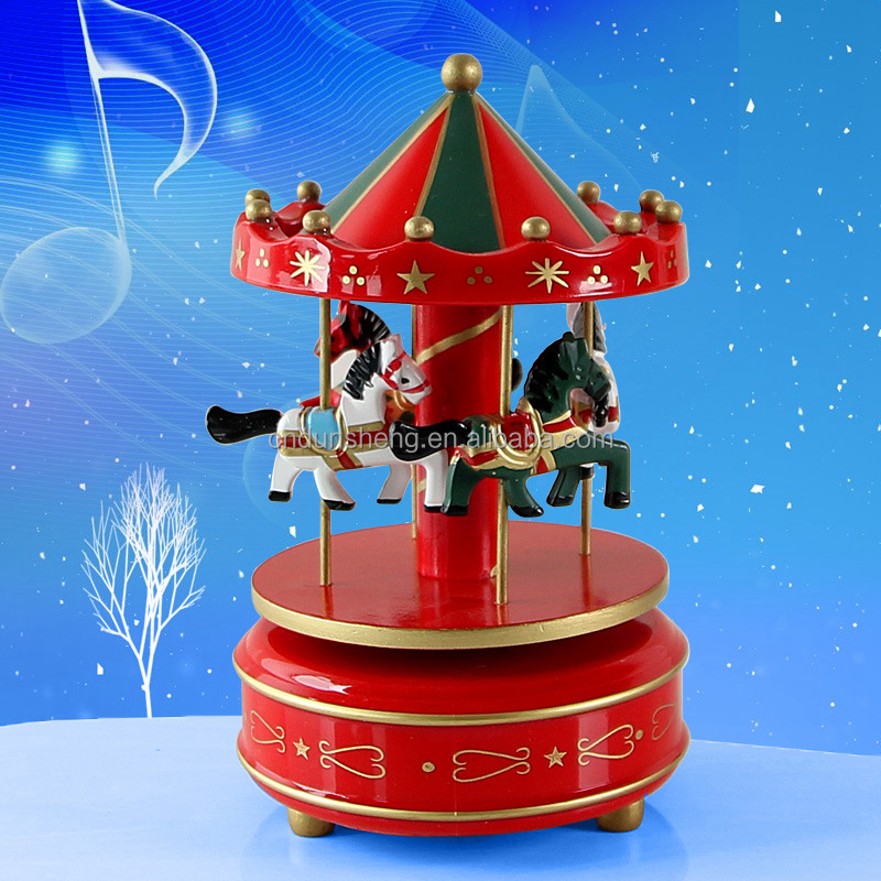 Merry-go-round Nusic Box Wood Crafts for Gift