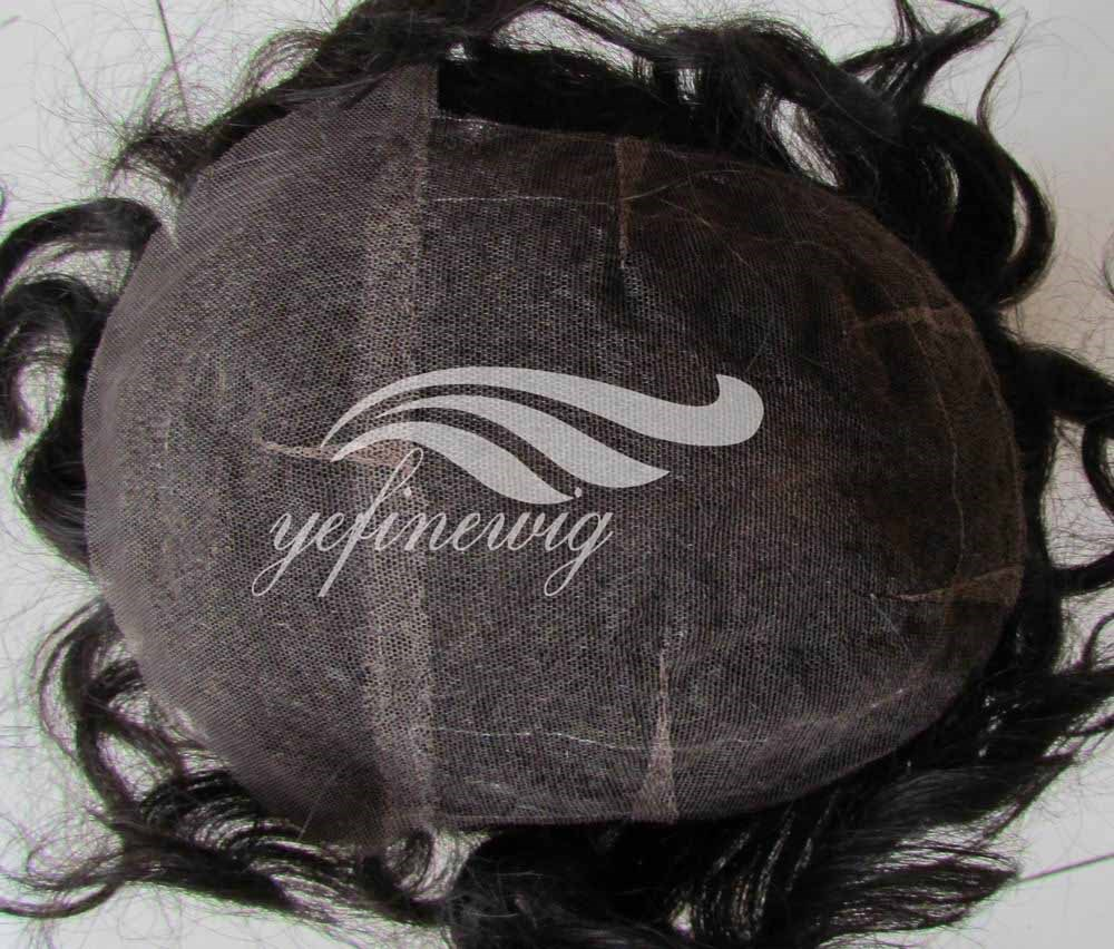 Handtied Swiss Lace Indian Human Hair Afro Wigs for Black Men