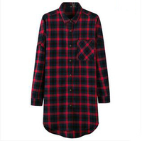 Fashion women clothing cotton blouse red and black flannel ladies check shirts designs