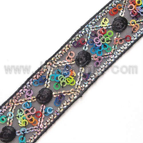 Embroidery lace timming color ribbon