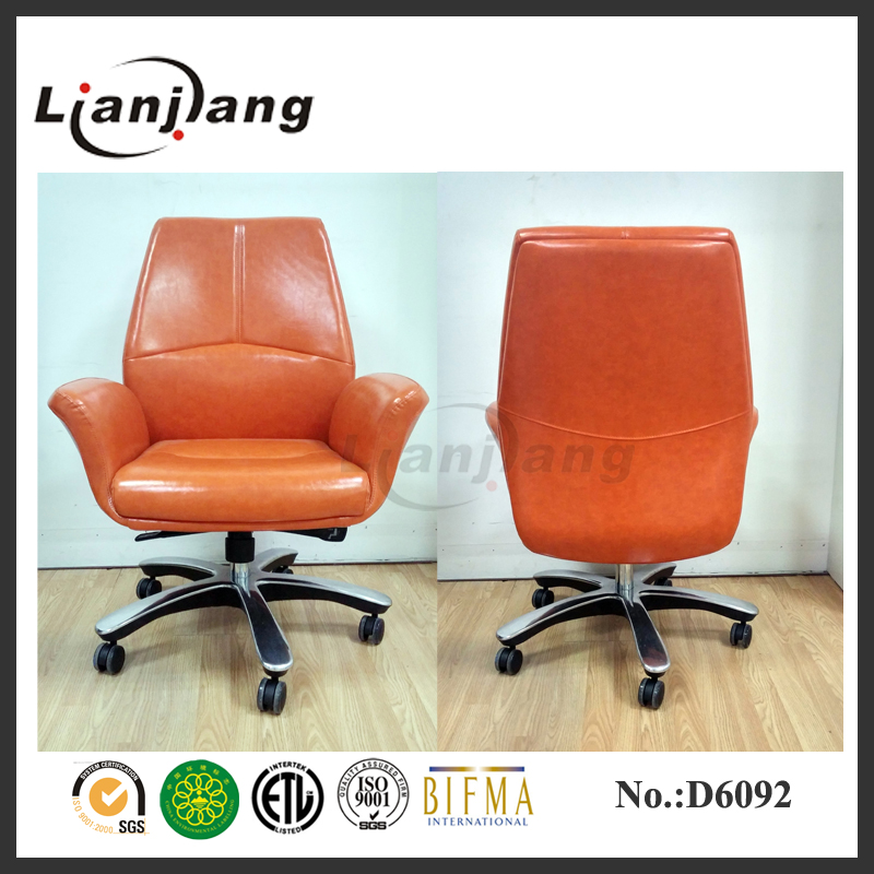 high-end orange color WAX PAPER PU manager chair