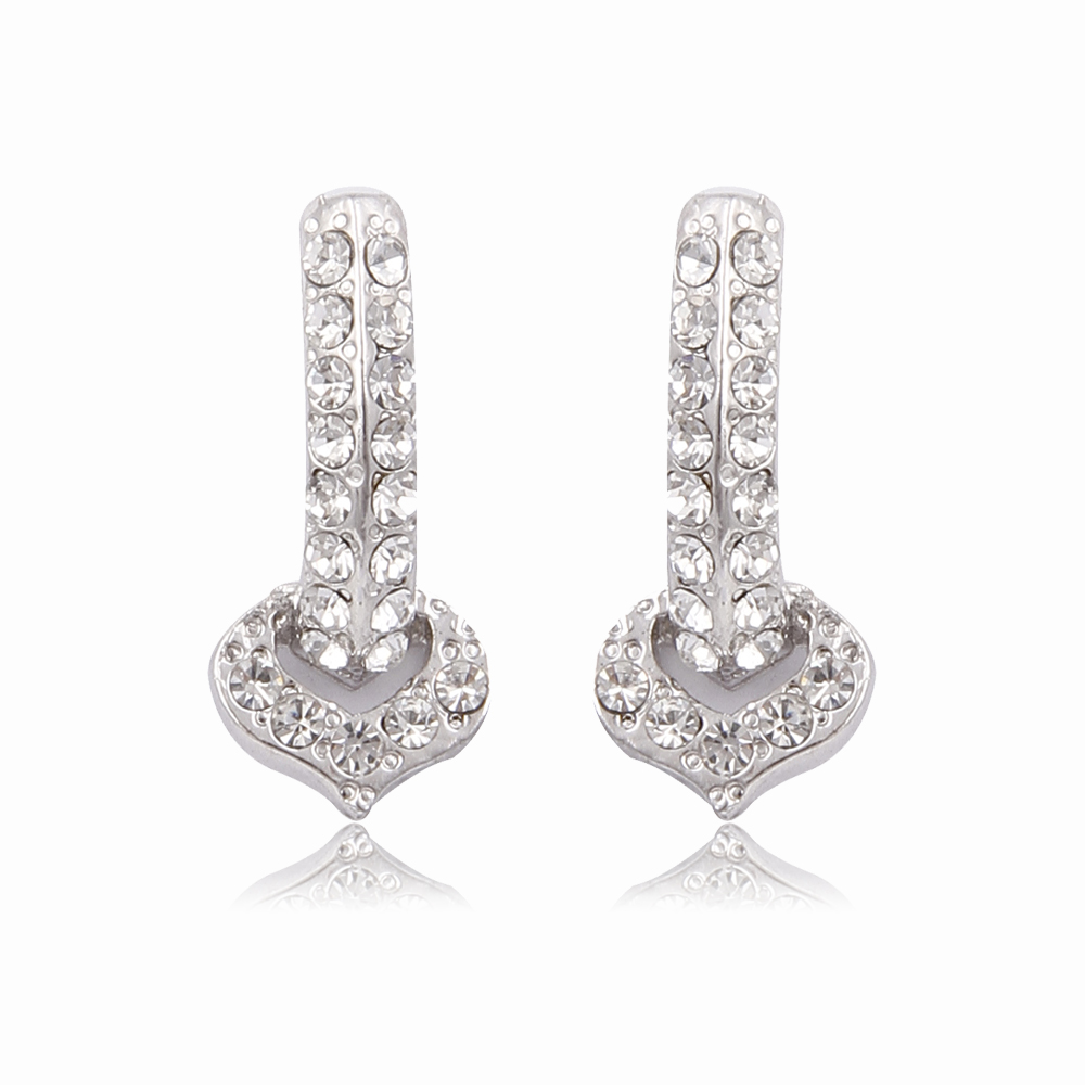 Trendy fancy alloy heart pendant earring with rhinestone for women
