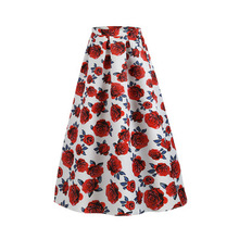 2019 Summer Women's Clothing Flower Print Long Dress 2018 Summer Elegant Ladies Long <strong>skirt</strong>