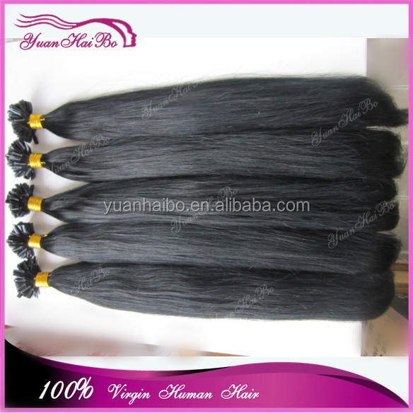 Top 6a grade wholesale price 1b# brazilian virgin hair silky straight u tip hair extesnions