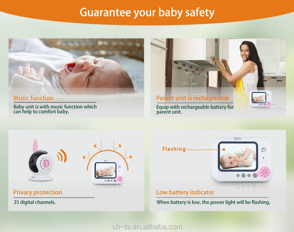 2.4GHz digital video baby monitor with music lullabies 3.5 lcd wireless muiltple cameras