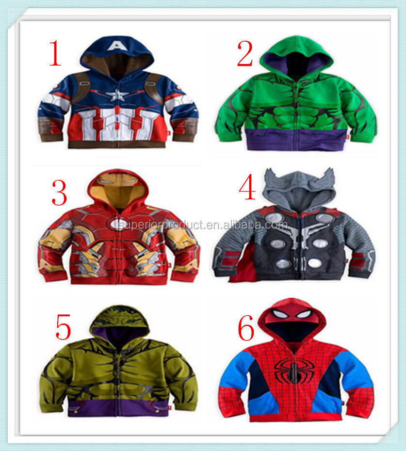 The Avengers, Iron Man Children Hoodies Sweatshirt Boys Spring Autumn Coat Kids Long Sleeve Outwear Baby Clothing Spider man