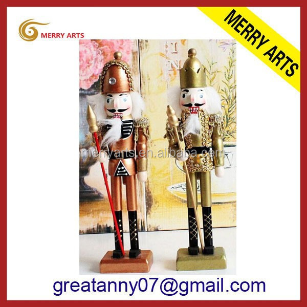 Latex new products hand painted christmas craft bronze miniature wood soldier statues crafts for wedding decoration